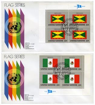 ONU NY : drapeaux 1985