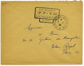 Saint-Pierre et Miquelon : Courrier en port payé du 7.7.1926