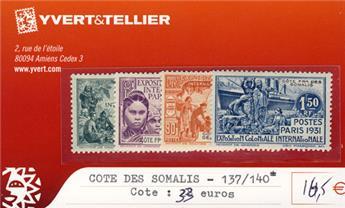 COTE DES SOMALIS - n° 137/140*