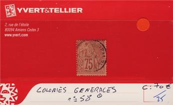 COLONIES GENERALES - n° 58 Obl.