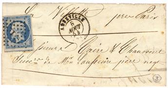 n°14Af obl. TB sur lettre - Timbre France Poste
