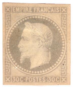 France : Essai (*) Empire lauré 30 c. gris