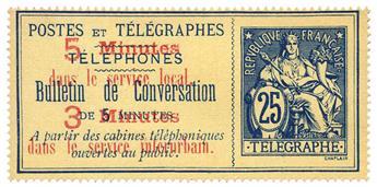 France : Téléphone n°13(*). 25 c. bleu s. chamois, neuf sans gomme.