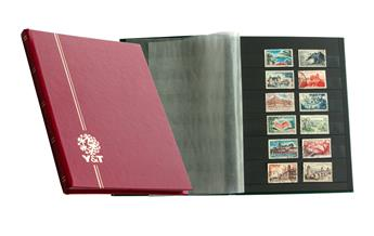 PERFECTA : Classeur fixe pour timbres (Petit modèle-Pages Noires-16p. Bleu)