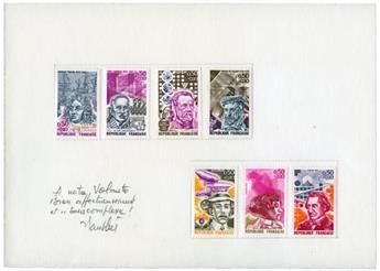 n°1744/48 et 1768/69 collés sur 2 cartons + 1 essai de Pasteur - Timbre FRANCE Poste