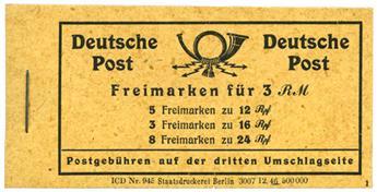 Allemagne Occidentale interalliée Zone américaine : Carnet C9**