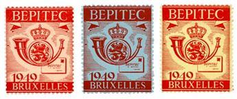 Belgique : Exposition philatélique Bruxelles 1949 BEPITEC (3 valeurs*)