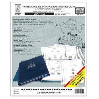 PATRIMOINE DE FRANCE EN TIMBRES SC : 2019 (Jeu avec pochettes)