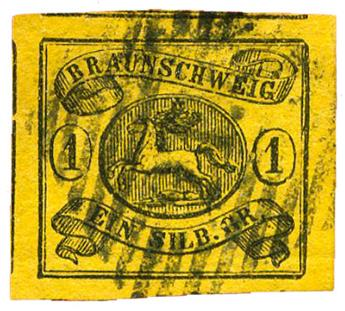 n°7a obl. TB - Timbre ALLEMAGNE BRUNSWICK Poste