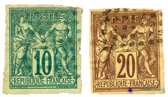 n°32 + 34 obl. B - Timbre COLONIES FRANCAISES Poste