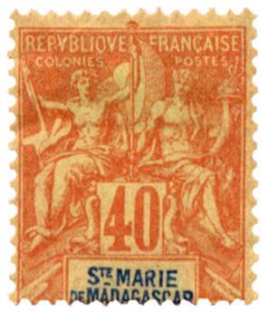 n°10* - Timbre SAINTE MARIE DE MADAGASCAR Poste