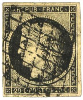 n°3 obl. B  - Timbre FRANCE Poste