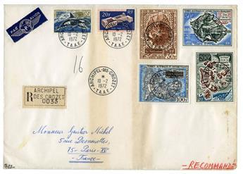 n°30, n° 32, PA n° 20 et PA n° 22/24 obl. sur lettre  - Timbre TAAF Poste