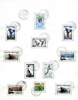 n°1/7, 11, 12/17 (sauf 13C), 18 obl. + PA n°2/4 obl. - Timbre TAAF Poste