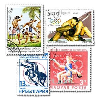 LUTTE : pochette de 50 timbres