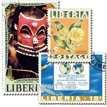 LIBERIA : pochette de 100 timbres