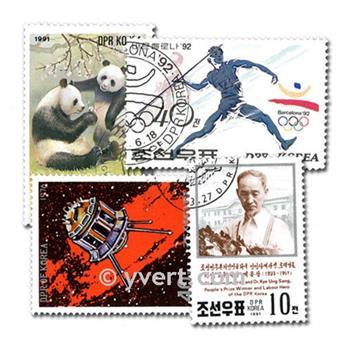 COREE DU NORD : pochette de 200 timbres