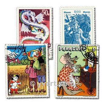 CUENTOS: lote de 100 sellos
