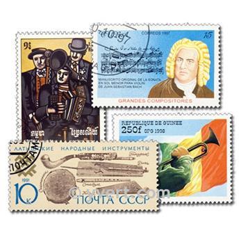 MÚSICA Y MÚSICOS: lote de 100 sellos