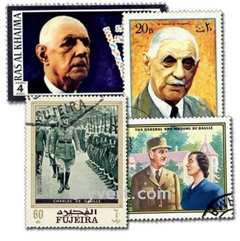 CHARLES DE GAULLE: lote de 100 selos
