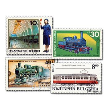 TRAINS: envelope of 100 stamps