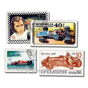 VOITURES DE COURSE : pochette de 50 timbres