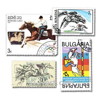 HIPPISME : pochette de 100 timbres