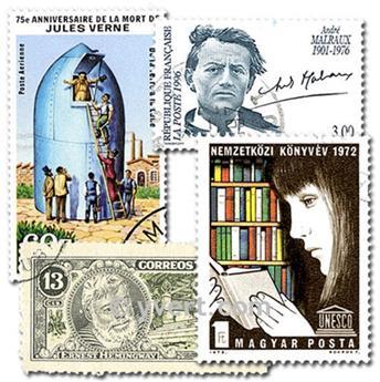 LITERATURA : lote de 100 selos