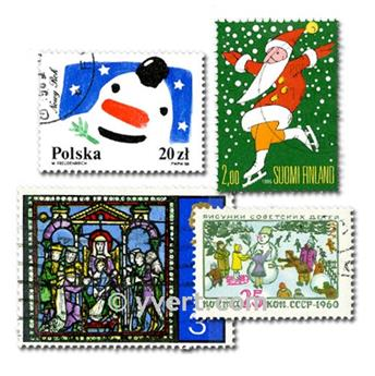 CHRISTMAS: envelope of 100 stamps