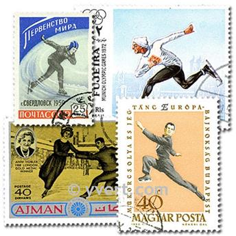 ICE SKATING: envelope of 50 stamps