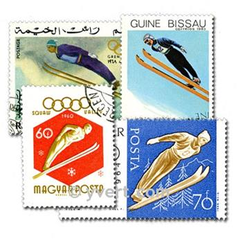 SKIING: envelope of 100 stamps