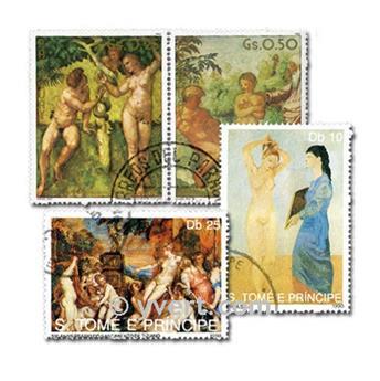CUADROS DESNUDOS: lote de 100 sellos