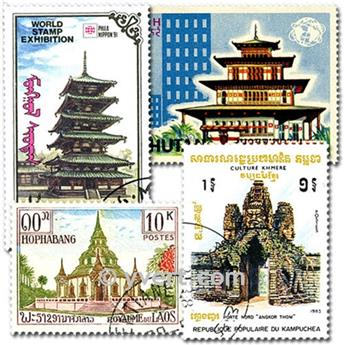 TEMPLES MOSQUES PAGODAS: envelope of 50 stamps
