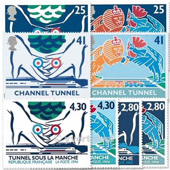 1994 - Emissão conjunta-França-Grã-Bretanha-(lote)