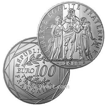 BE : 100 EUROS ARGENT - FRANCE 2013 - HERCULE