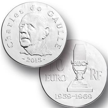 10 EUROS PRATA - FRANÇA - CHARLES DE GAULLE