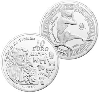 10 EUROS ARGENT - ANNEE DU SINGE 2016