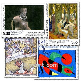 PAINTINGS: envelope of 100 stamps