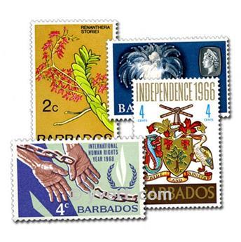 BARBADE : pochette de 25 timbres