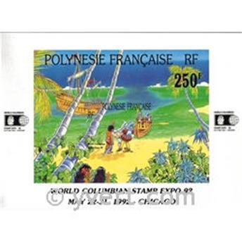 n.o 20 -  Sello Polinesia Bloque y hojitas